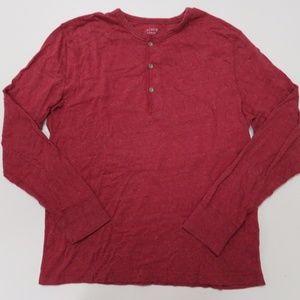 J Crew Slim Flagstone Marled Henley Shirt Red Mens